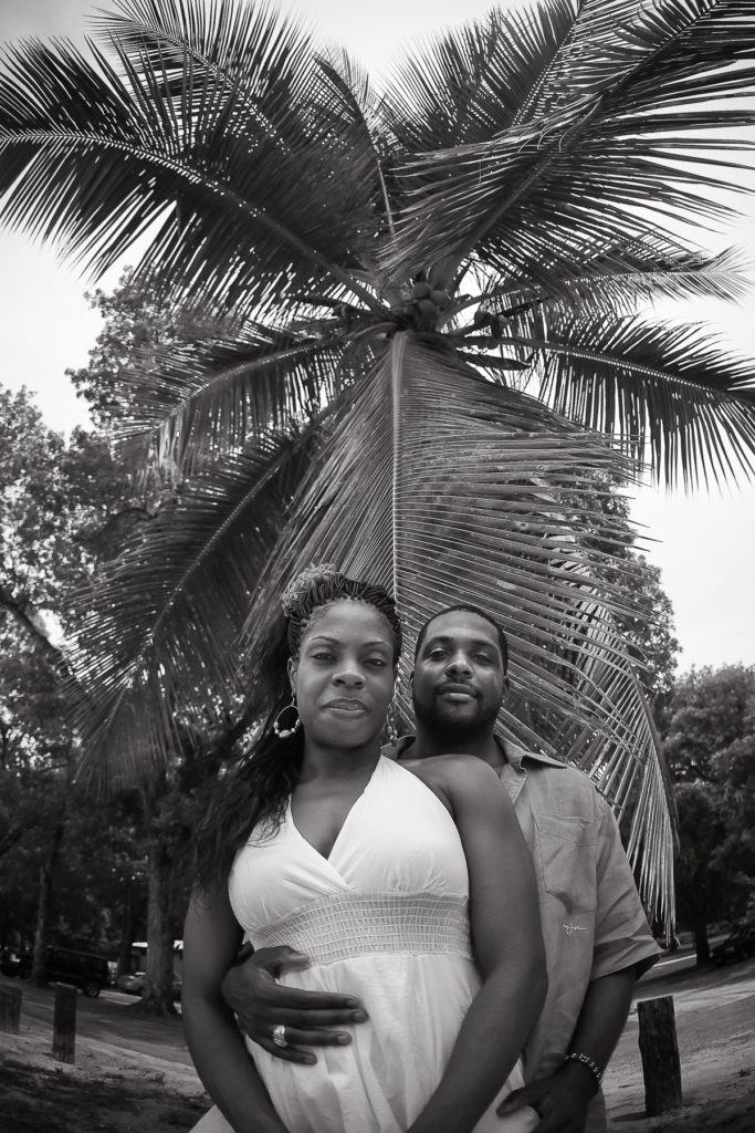 St.Thomas USVI Engagement under the palm tree at Magens Bay Beach.