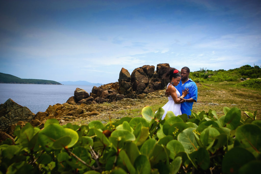 St.Thomas USVI Engagement Picara Point portrait session looking at each other.