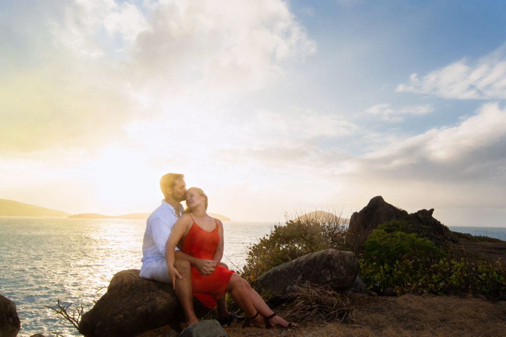 Brooklyn Wedding Photographer | Rob Allen Photography | Destination Wedding Photographer St. Thomas Picaras Point kissing on forehead and holding hands