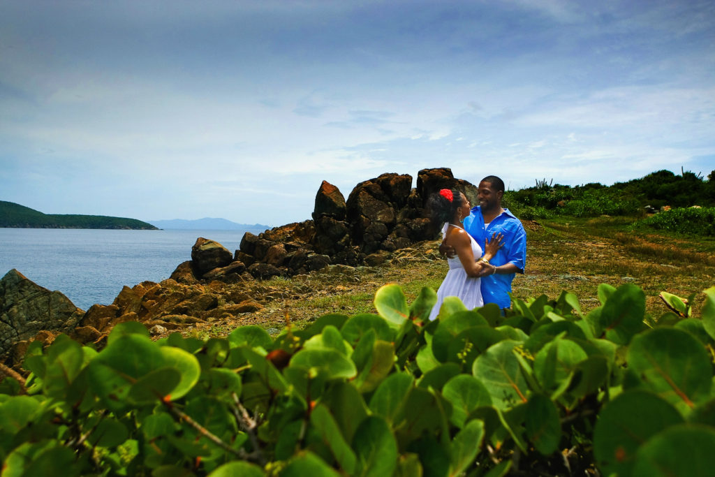 St.Thomas USVI Engagement Picara Point portrait session holding each other.