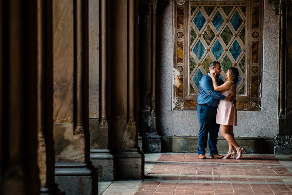 New York City central park Bethesda fountain engagement photo session