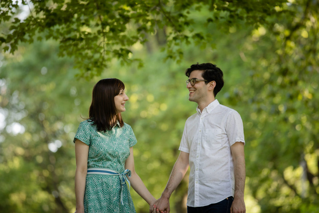 Brooklyn Prospect Park engagement session smiling