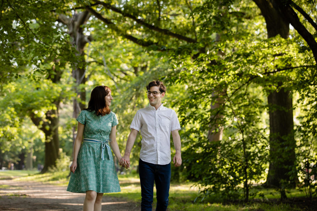 Brooklyn Prospect Park engagement session walking in the park