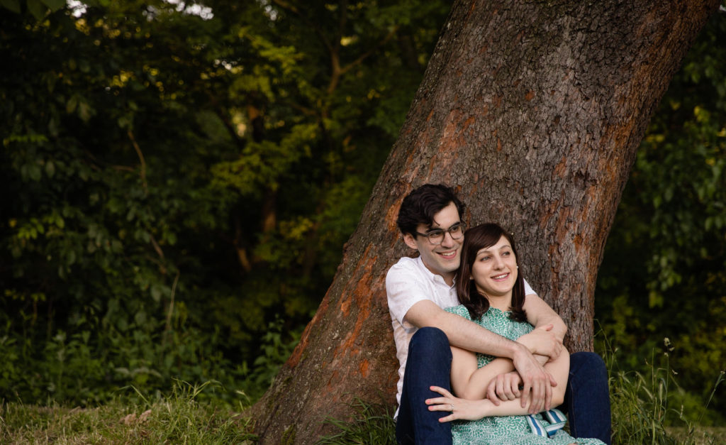 Brooklyn Prospect Park engagement session under tree