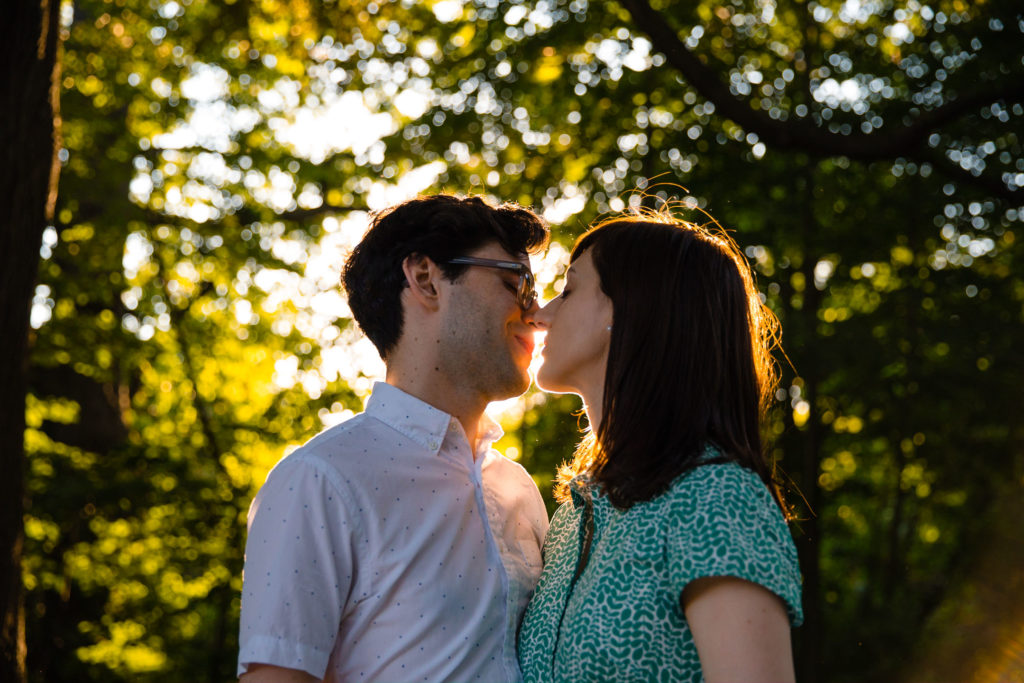 Brooklyn Prospect Park engagement session kissing